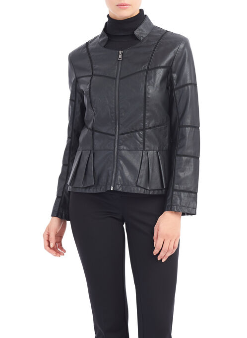 Patchwork Detail Faux Leather Jacket, Black, hi-res
