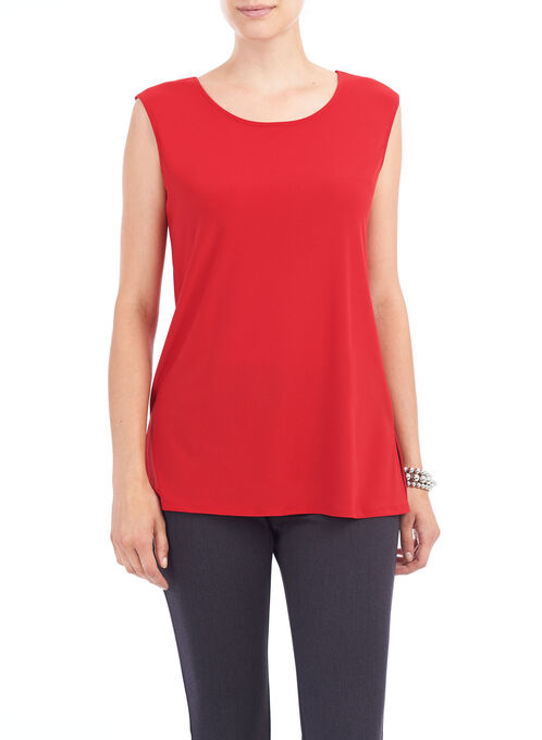 Sleeveless Textured Knit Top, Red, hi-res