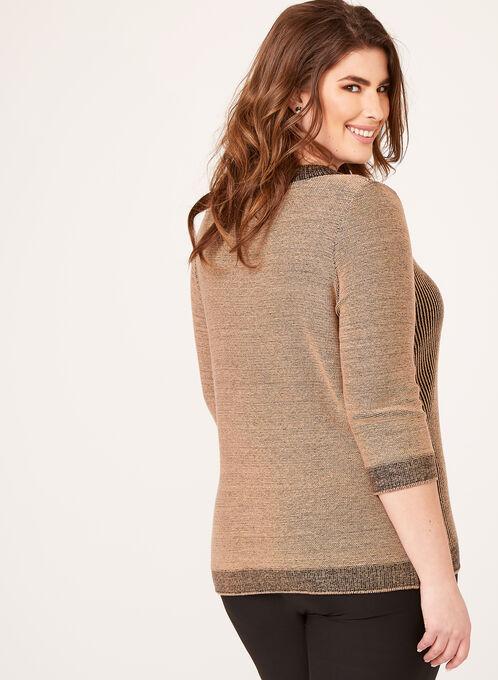 3/4 Sleeve Scoop Neck Sweater, Black, hi-res