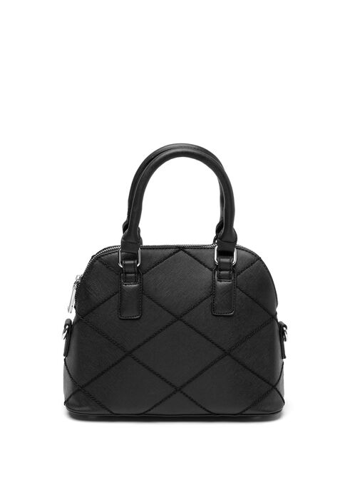 Diamond Stitch Satchel, Black, hi-res
