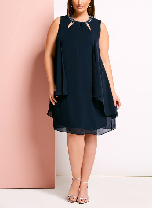 Chain Trim Tuck Neck Chiffon Dress, Blue, hi-res