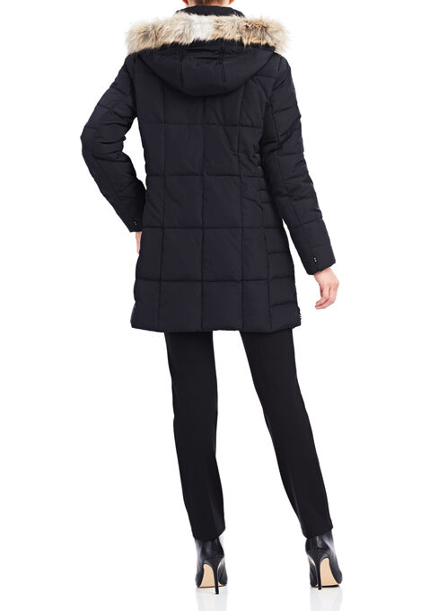 Novelti Box Quilt Down Coat, Black, hi-res