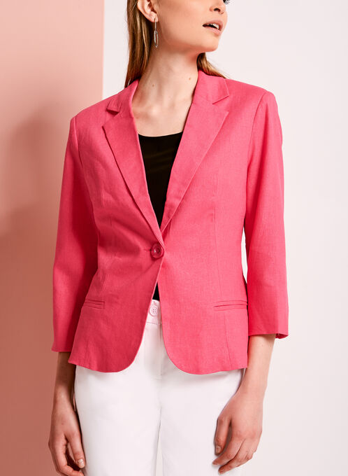 Linen Blend Single Button Blazer, Pink, hi-res