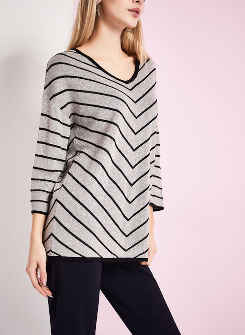 Metallic Stripe Print Sweater, Brown, hi-res