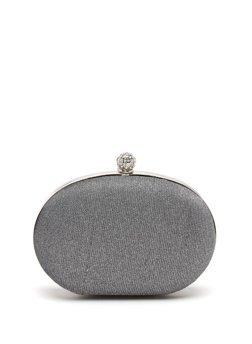 Crystal Embellished Oval Box Clutch, Grey, hi-res