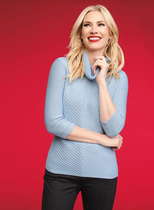Cowl Neck Mitered Sweater, Blue, hi-res