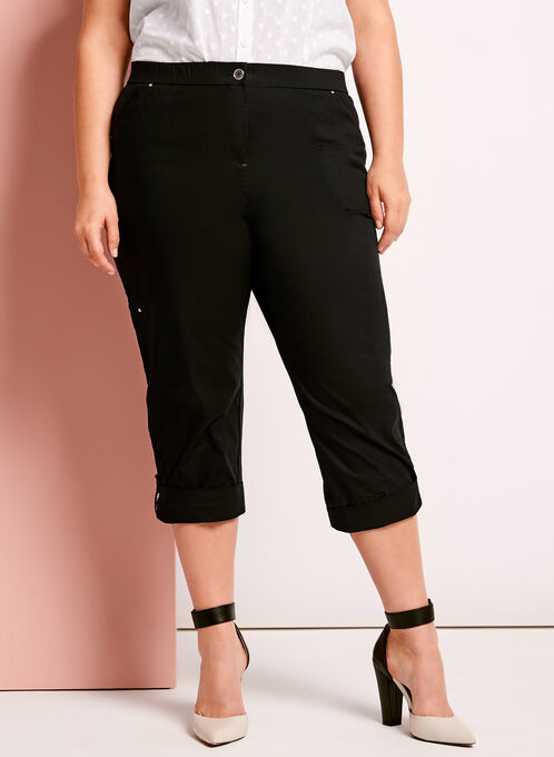 Modern Fit Capri Cargo Pants, Black, hi-res