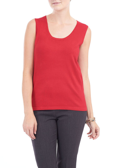 Sleeveless Knit Scoop Neck Top, Red, hi-res
