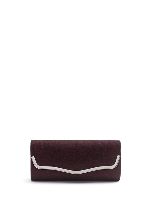Glitter Metallic Trim Clutch, Red, hi-res