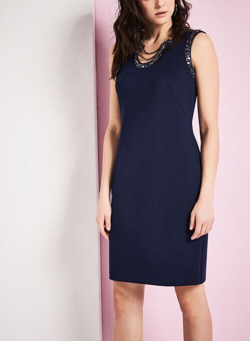Scuba Beaded Chain Dress, Blue, hi-res