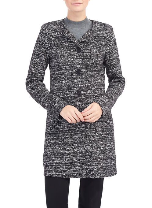 Tweedy Knit Redingote Jacket, Black, hi-res