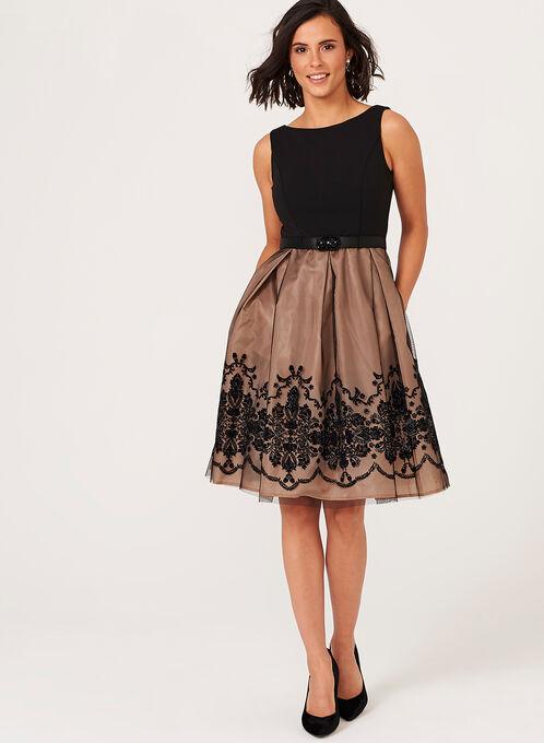 Lace Detail Fit & Flare Dress , Multi, hi-res