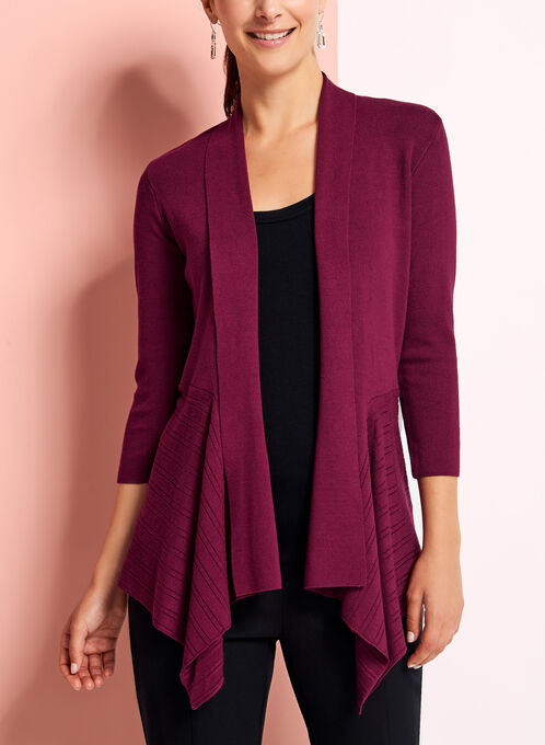 Open Front Pointelle Cardigan, Red, hi-res