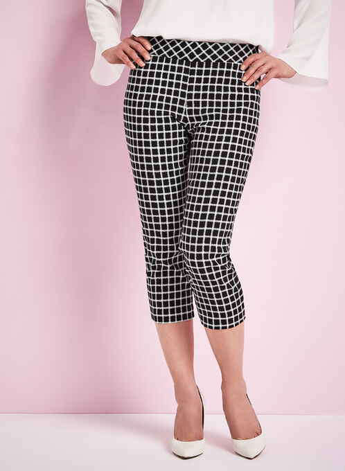 Windowpane Print Capri Pants, Black, hi-res