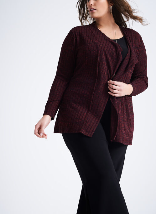 Ribbed Heather Knit Open Front Top, Red, hi-res