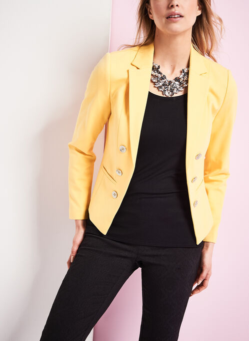 Ponte Button Trim Blazer, Yellow, hi-res