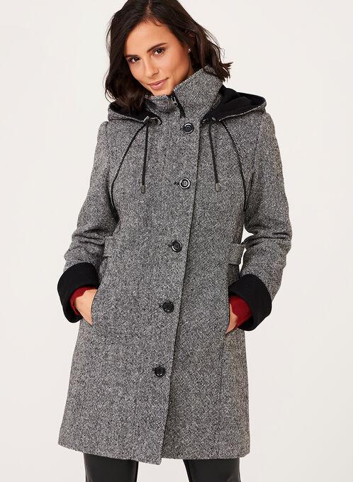Leather Trim Tweed Wool Coat, Black, hi-res