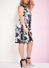 Abstract Floral Print Dress, Blue, hi-res