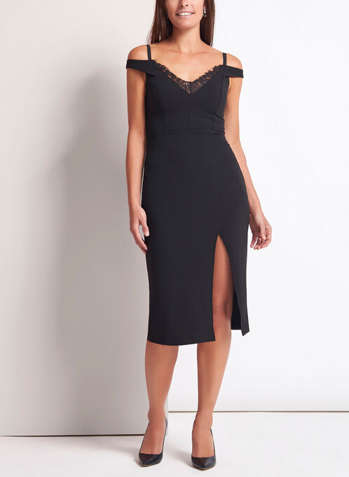 Off The Shoulder Midi Dress, Black, hi-res