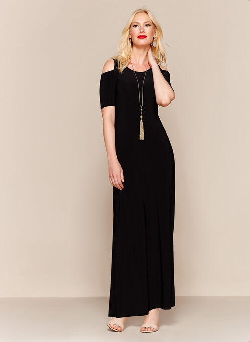 Cold Shoulder Maxi Dress, Black, hi-res
