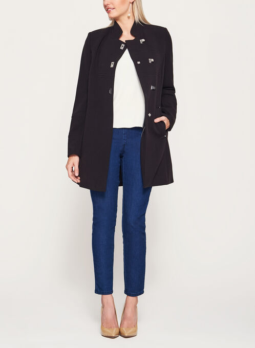 Mandarin Collar Crepe Coat, Black, hi-res