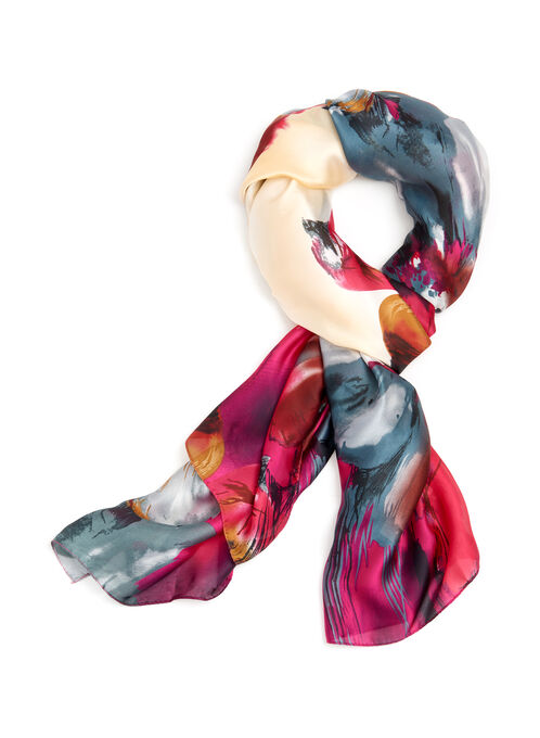 Abstract Floral Print Scarf, Pink, hi-res