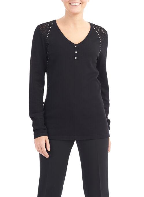 Pointelle & Stud Detail Sweater, Black, hi-res