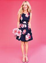 Fit & Flare Floral Print Dress, Blue, hi-res