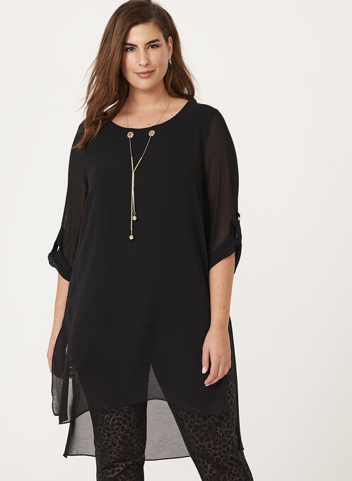 3/4 Sleeve Chiffon Eyelet Detail Tunic Top , Black, hi-res