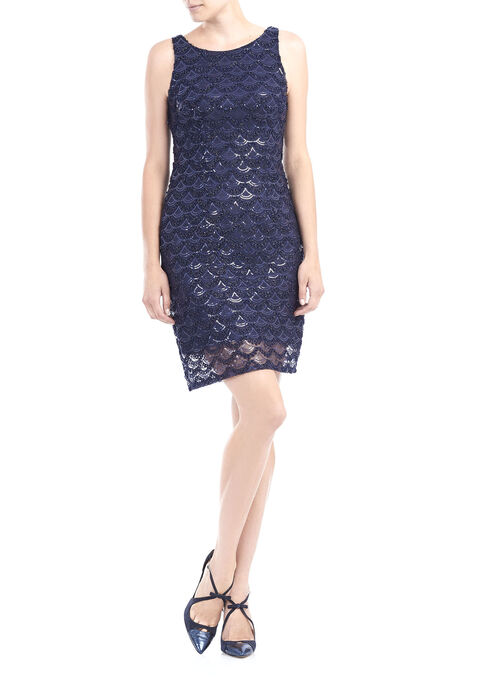 Sleeveless Sequined Mesh Dress, Blue, hi-res