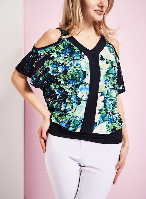 Floral Print Cold Shoulder Top, Blue, hi-res