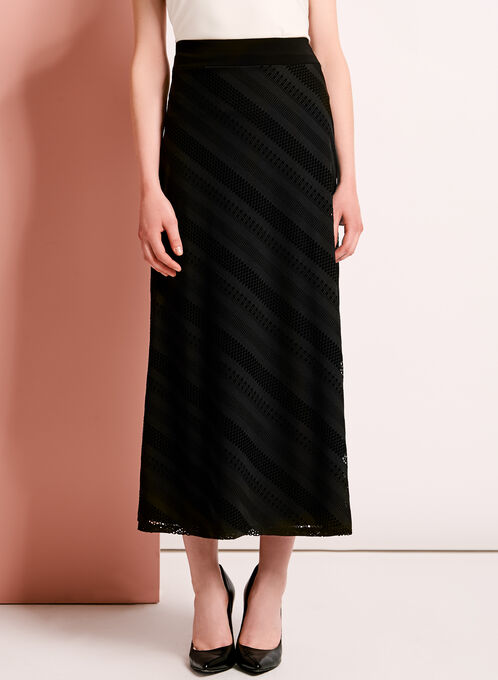 Pointelle Eyelet Maxi Skirt, Black, hi-res