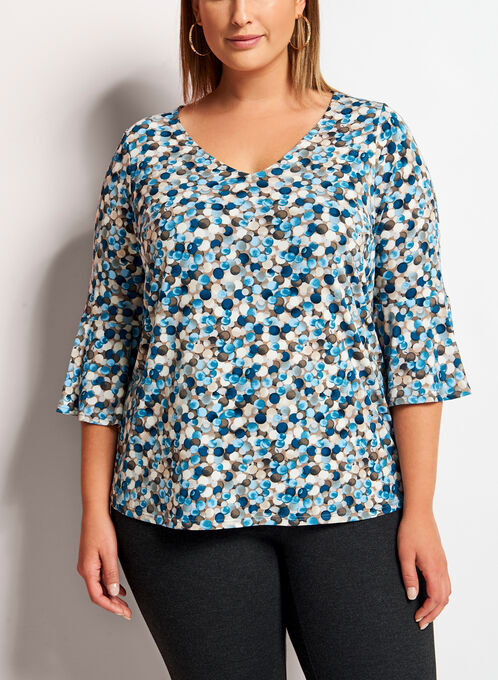 Dot Print Bell Sleeve Top, Multi, hi-res