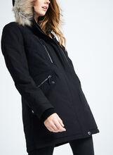 Novelti Faux Fur Polyfill Coat, Black, hi-res