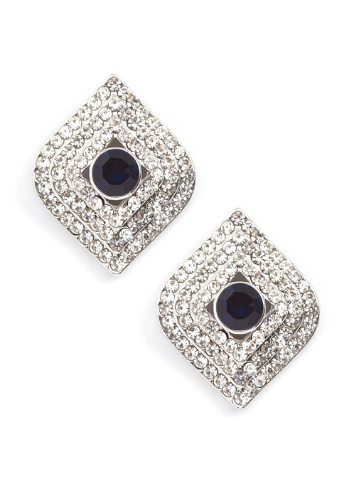 Diamond Contrast Crystal Earrings, Blue, hi-res