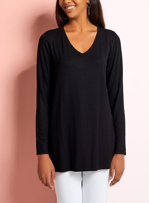 V-Neck Long Sleeve Top, Black, hi-res