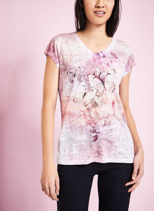 Butterfly Print Burnout T-Shirt, Red, hi-res