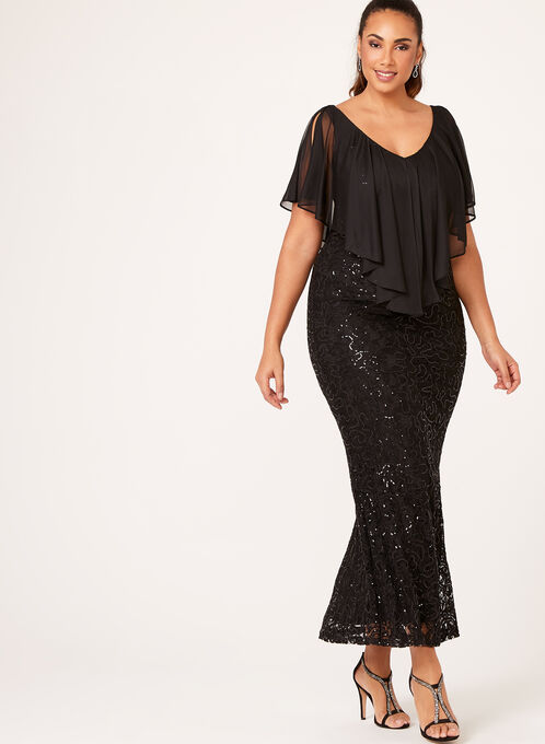 Sequin Lace Cascade Poncho Dress, Black, hi-res
