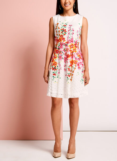Crochet Floral Print Fit & Flare Dress, White, hi-res