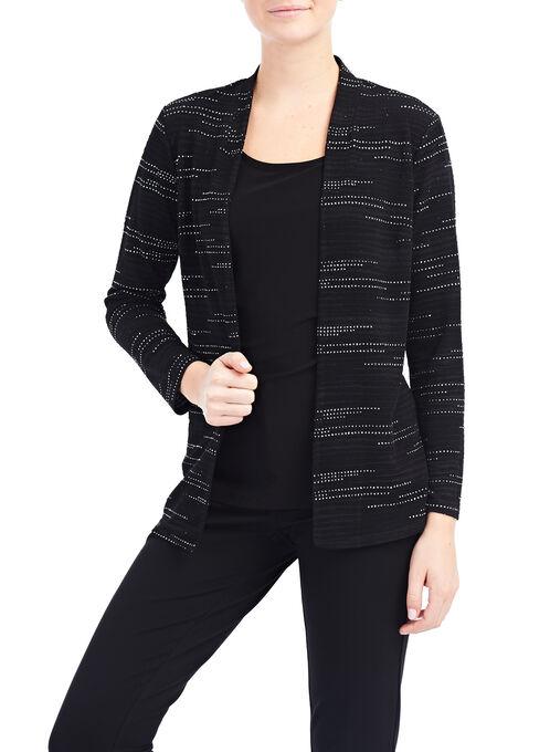 Long Sleeve Jacquard Cover Up, Black, hi-res