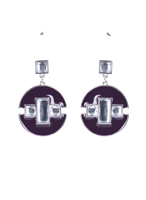 Stone Center Geometric Earrings , Purple, hi-res