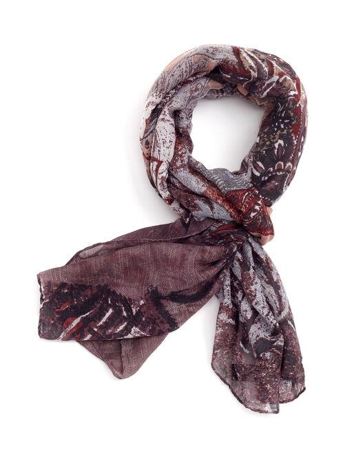 Foulard rectangulaire à motif cachemire, Gris, hi-res
