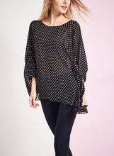 3/4 Sleeve Polka Dot Print Blouse , Black, hi-res
