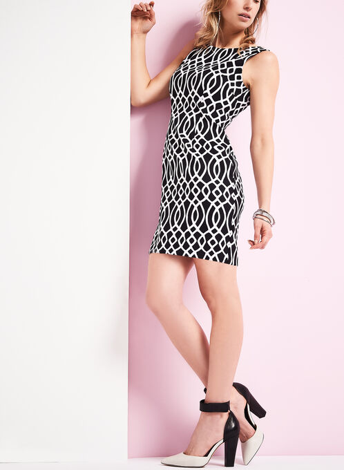 Sleeveless Scroll Print Sheath Dress, Black, hi-res