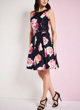 Fit & Flare Floral Print Dress, Blue, hi-res