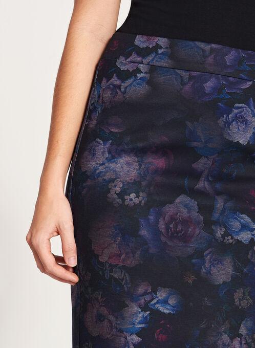 Floral Print Pencil Skirt, Black, hi-res