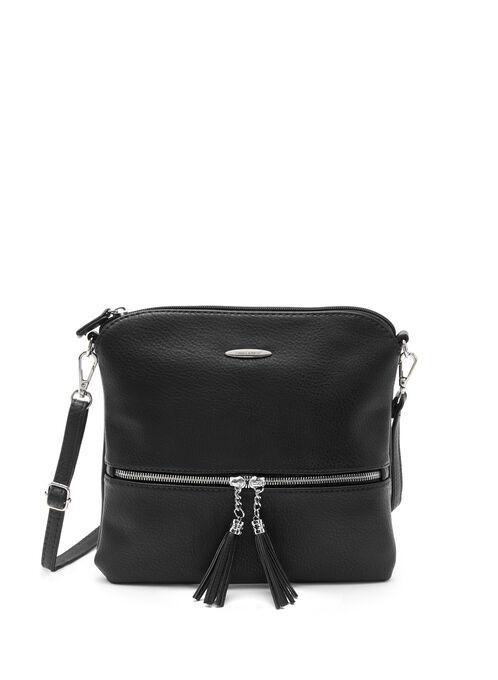 Tassel Trim Crossbody Bag, Black, hi-res