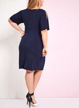 Cold Shoulder Faux Wrap Dress , Blue, hi-res