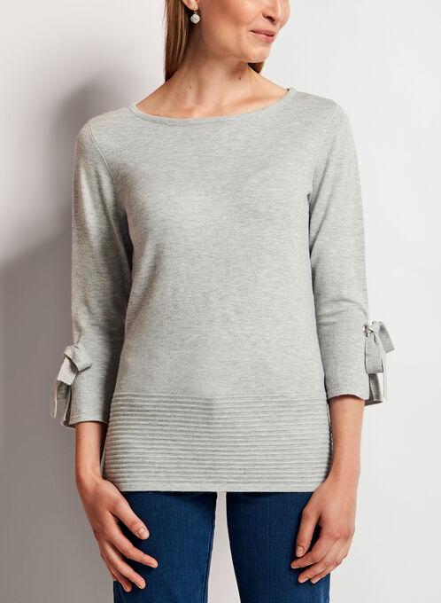 Ottoman Hem Bell Sleeve Sweater, Silver, hi-res