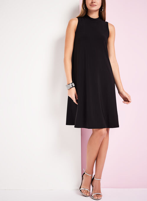Mock Neck Trapeze Dress, Black, hi-res